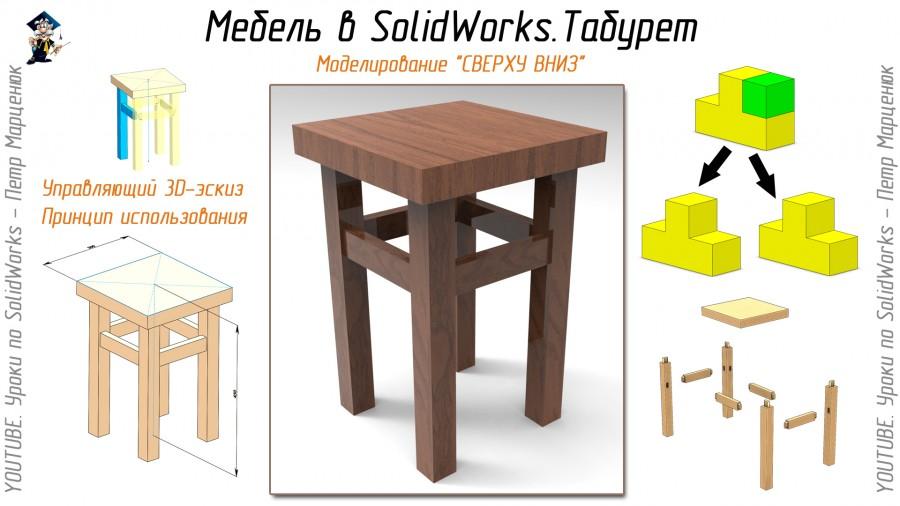 Моделирование табурета в SolidWorks