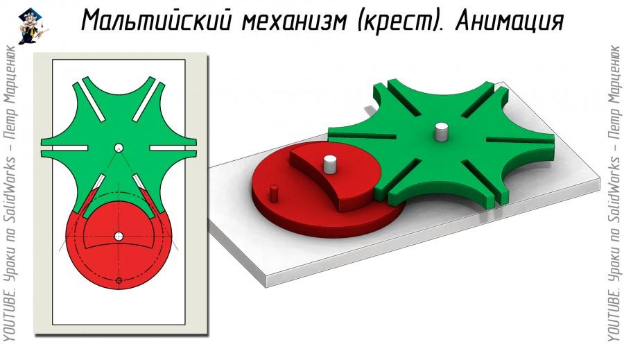 Мальтийский механизм. Анимация