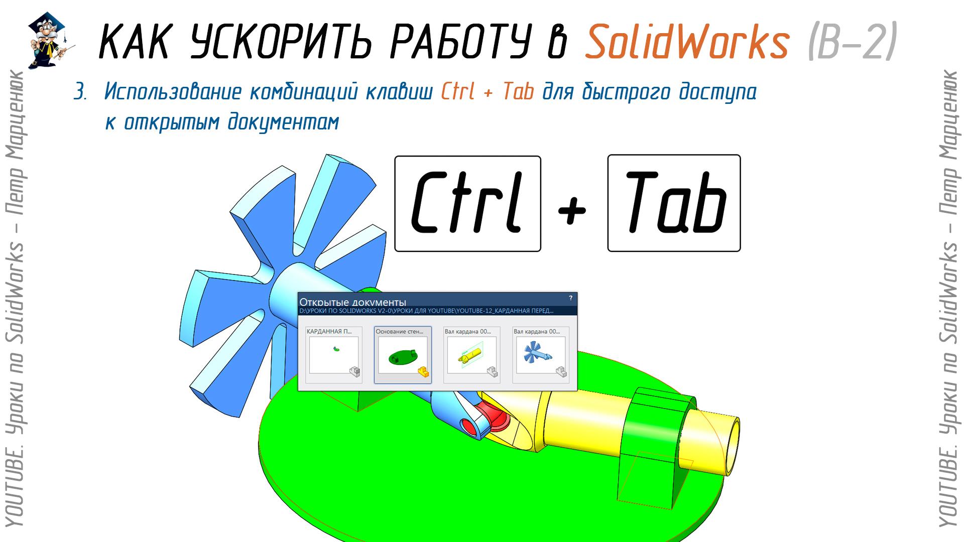 Использование комбинаций клавиш Ctrl + Tab