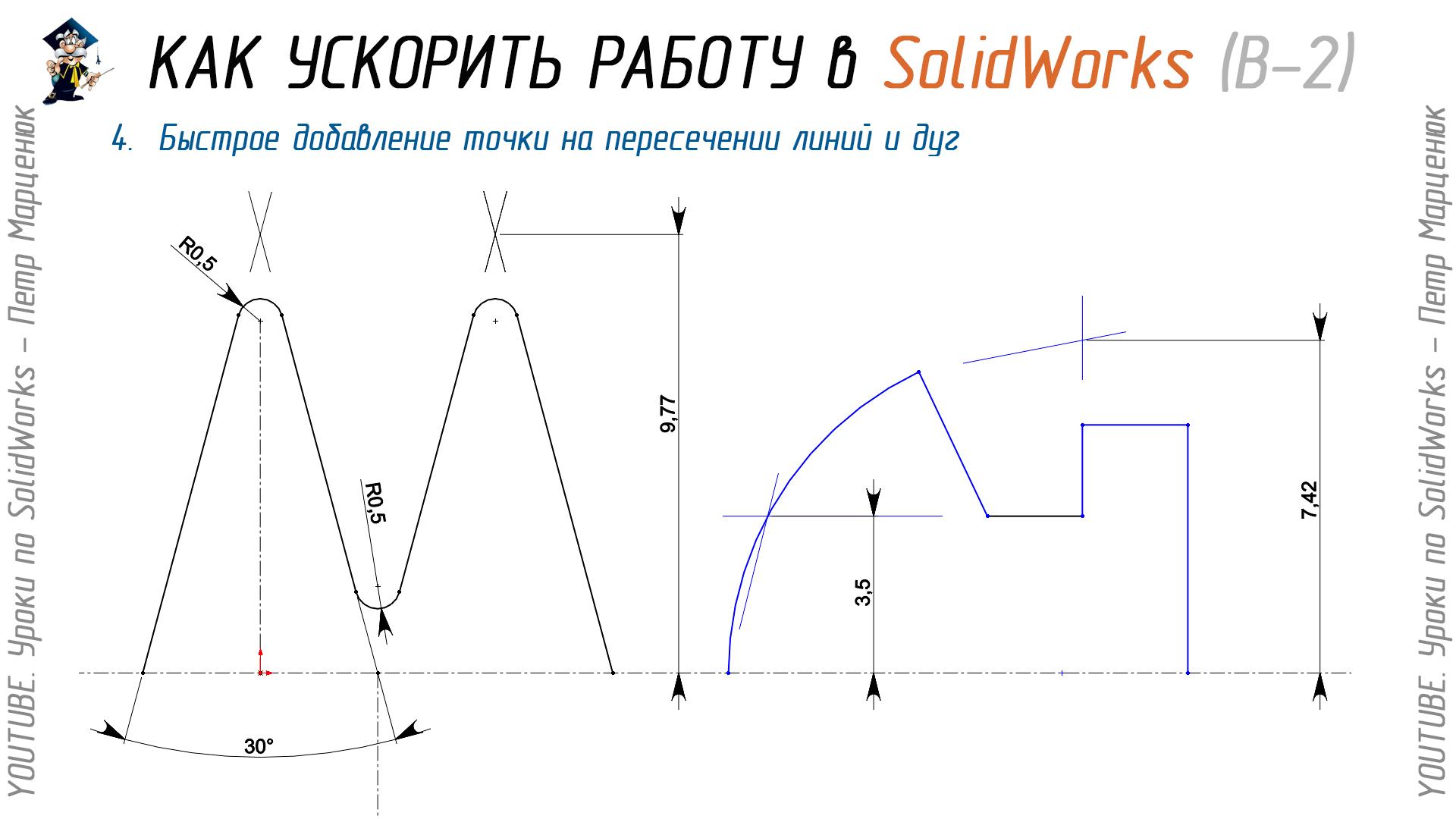 Быстрое добавление точки на пересечении линий и дуг