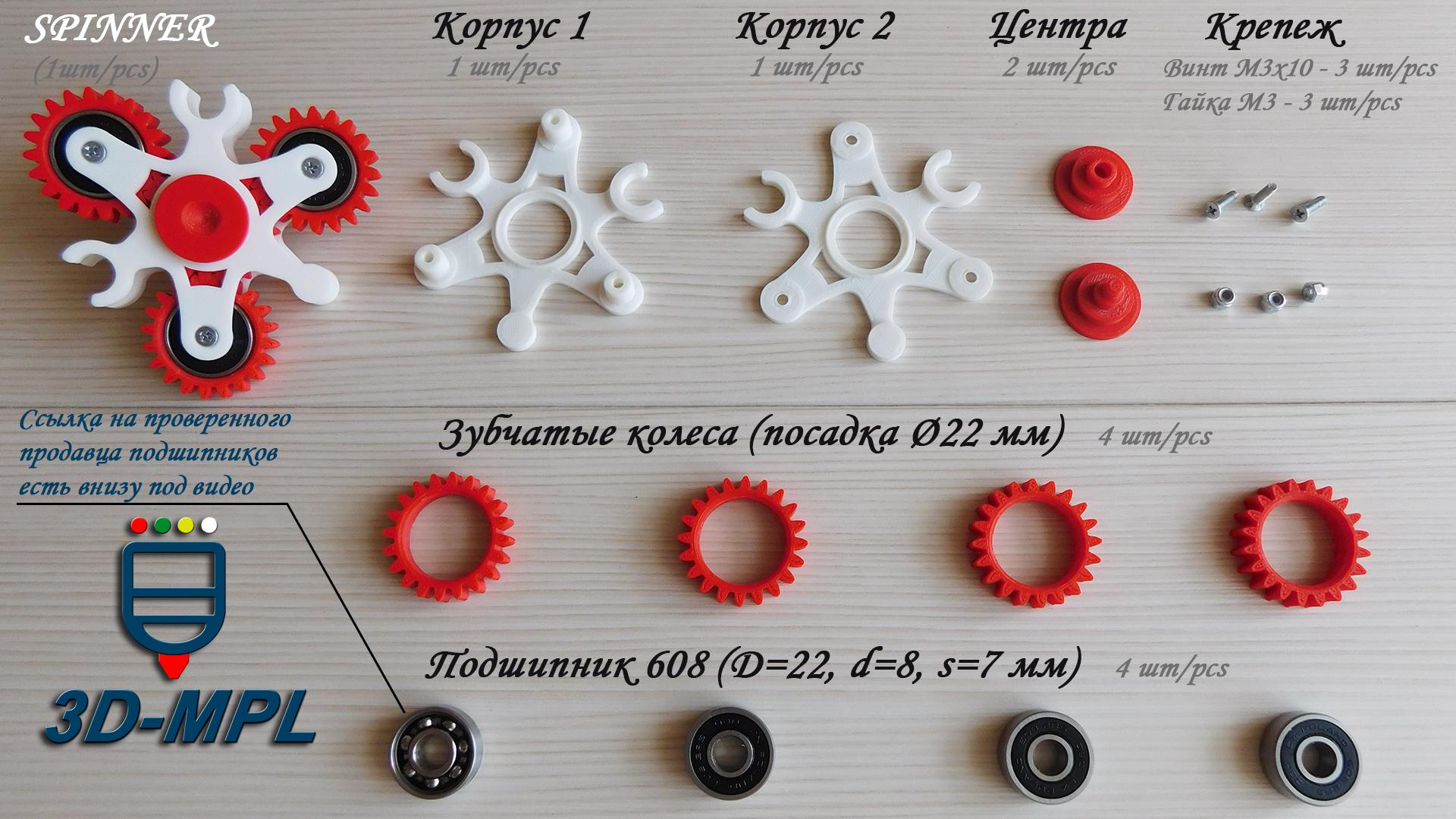 СПИННЕР на 3D-принтере. Комплектация