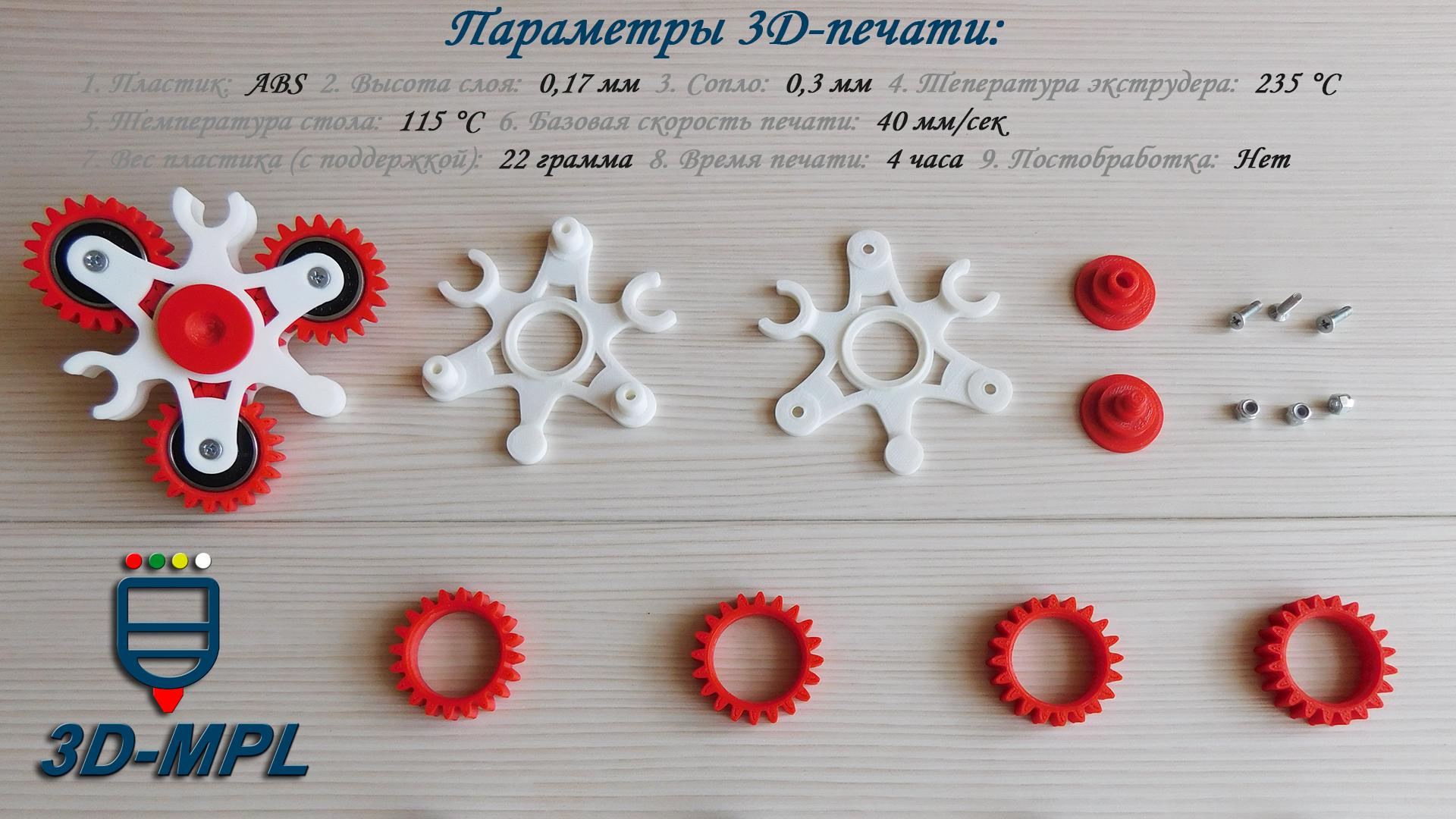 СПИННЕР на 3D-принтере. Параметры 3d печати