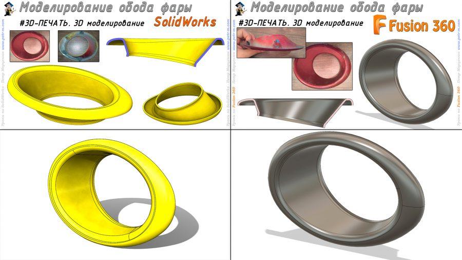 Обод фары авто. Моделирование для 3D-печати. SolidWorks/Fusion 360